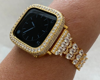 Apple Watch Band 38mm 40mm 42mm 44mm Women's Gold & or Lab Diamond 2.5mm Bezel Cover Handmade