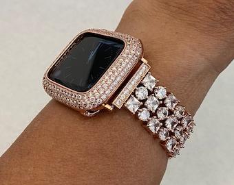 Apple Watch Band Women Rose Gold 38mm 40mm 42mm 44mm Lab Diamond Bezel Cover Iwatch Bling Series 6 SE rpb1