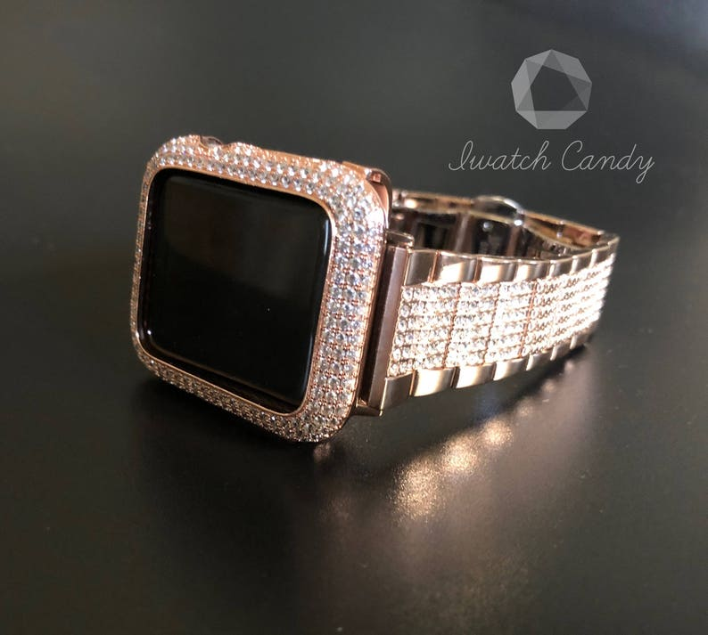 495b2e095 Luxury Apple Watch Band Women 38mm Rose Gold Crystal Iwatch | Etsy