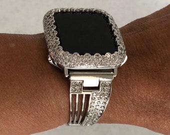Silver Apple Watch Band Series 1,2,3,4,5,Rhinestone Watch Iwatch 38mm 40mm 42mm 44mm Crystal Bling S6 sb1