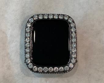 Black Apple Watch Bezel Case 3.5mm Lab Diamond Iwatch Bumper Cover Bling bzl