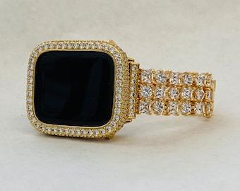 Custom CZ Apple Watch Band Gold 38mm 40mm 42mm 44mm & or Lab Diamond Bezel Cover Handmade