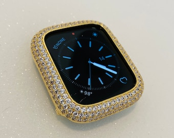 Gold Apple Watch Bezel Cover Pave Lab Diamond Case Crystal Iwatch Band Bling Series 1,2,3,4,5,6,SE