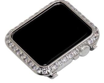 Silver Apple Watch Bezel Metal 3mm Lab Diamond Crystal Iwatch Band Bling 38mm 40mm 42mm 44mm Series 1,2,3,4,5,6,SE
