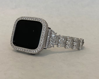 Custom White Gold Apple Watch Band Women 38 40 42 44mm & or Silver Lab Diamond Bezel Cover
