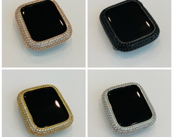 Apple Watch Bezel Cover Pave Lab Diamond Silver, Rose Gold, Yellow Gold, Black on Black 38mm 40mm 42mm 44mm