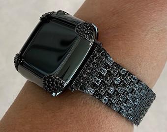 Black on Black Apple Watch Band & or Matching Lab Diamond Bezel Cover 40mm 44mm Custom Handmade