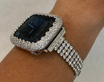 White Gold Apple Watch Band Women Silver White Gold and or Lab Diamond Bezel Iwatch Bling Pave 38mm 40mm 42mm 44mm Gift for Her Hand Made