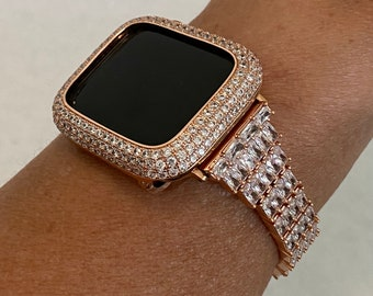 Fits Apple Watch Rose Gold Custom Baguette Band Crystals & or CZ Diamond Bezel Cover 40mm 44mm Handmade