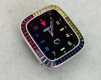 Rainbow Apple Watch Bezel Cover Silver Lab Diamond Iwatch Case Bling Series 6 SE bzl