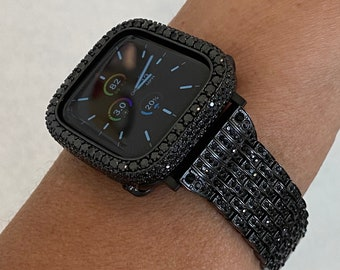 Black Apple Watch Band Stainless Steel and or 2.5mm Lab Diamonds Bezel Cover 38mm 40mm 42mm 44mm Series 6 SE blb1