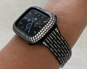 Black Apple Watch Band Crystal 38 40 42 44mm & or Lab Diamond Bezel Case Cover