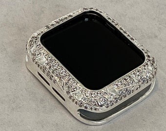 Metal Apple Watch Bezel Cover Silver With Floral Design & Inset Rhinestones Sizes 38mm 40mm 42mm 44mm Series 6 SE Custom