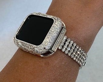 CZ Apple Watch Band 40mm Woman Silver and or Rhinestone Bezel Iwatch Bling 38mm 40mm 42mm 44mm Series 6