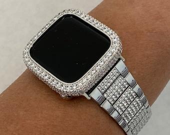 White Gold Apple Watch Band Silver & or Lab Diamond Bezel Bumper 38mm 40mm 42mm 44mm Iwatch Custom Handmade