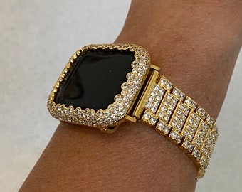 Gold Apple Watch Band Womens Lab Diamonds and or Bezel Cover Iwatch Bling 38mm 40mm 42mm 44mm Series 6 SE gb1