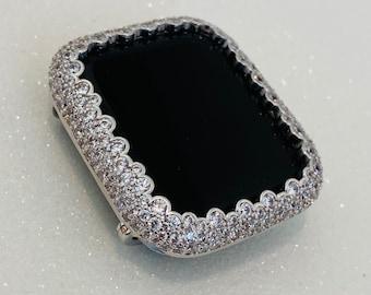Apple Watch Bezel Cover Women Silver Lab Diamond Bezel Metal Bling Crystal Iwatch Band Bling Series 1,2,3,4,5,6, Handmade