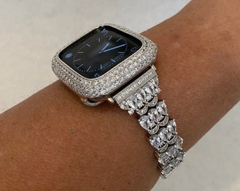 White Gold Apple Watch Band Bling Womens & or Lab Diamond Bezel Cover 38 40 42 44mm Iphone Watch