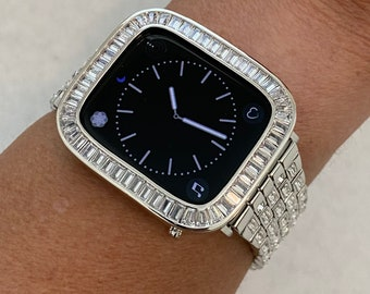 Custom Silver Apple Watch Band Swarovski Crystal Baguettes  38 40 42 44mm  & or Baguette Lab Diamond Bezel Cover Handmade