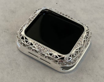 Apple Watch Bezel Cover Silver Lace Design Metal Case with Inset Rhinestones 38 40 42 44mm Series 6 Custom Handmade