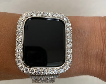 Apple Watch Bezel Cover Silver Lab Diamond Iwatch Band Bling 38mm 40mm 42mm 44mm 3.5 bzl