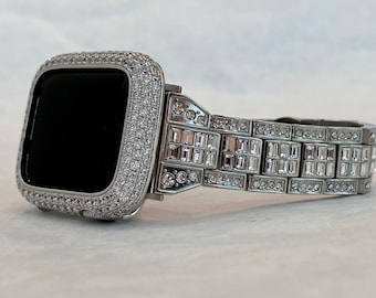 Silver Apple Watch Band Bling Baguette & or White Gold Bezel Lab Diamond 38 40 42 44mm Custom Iwatch