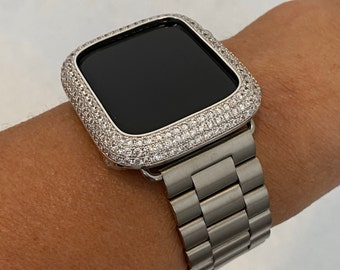 Mens Apple Watch Band Silver Rolex Style and or Lab Diamond Bezel Cover 38mm 40mm 42mm 44mm Series 6 sb1