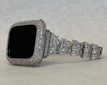 Apple Watch Band 40mm Womens Silver & or Lab Diamond Cover Bumper Iwatch Bling 38mm 42mm 44mm Series 1-6