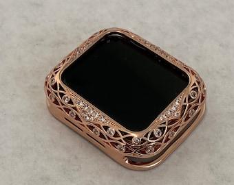 Custom Apple Watch Bezel Cover Rose Gold Metal Case Lace Design Rhinestones 38mm 40mm 42mm 44mm Series 6 SE Handmade