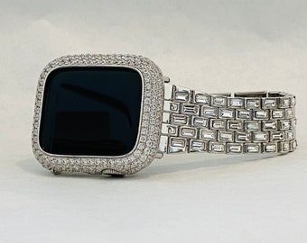 Silver Apple Watch Band Swarovski Crystal Baguettes 38mm 40mm 42mm 44mm & or Pave Lab Diamond Bezel Cover Custom Hand Made