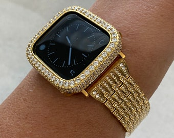 Gold Apple Watch Band 38mm 40mm 42mm 44mm Crystal & or Lab Diamond Bezel Cover Series 6