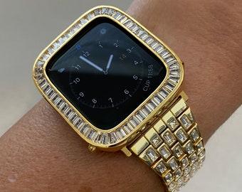 Gold Apple Watch Band Swarovski Crystal Baguettes 38mm 40mm 42mm 44mm & or Baguette Lab Diamond Bezel Cover Custom