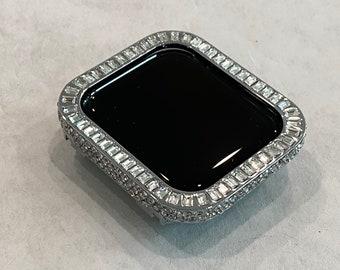 White Gold Apple Watch Bezel Cover 40mm 44mm Silver CZ Diamond Baguette Case