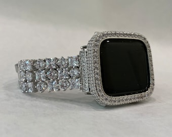 White Gold Apple Watch Band Bling & or Silver Lab Diamond Cover Bezel for Iwatch Band Bling 38 40 42 44mm