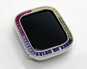 Rainbow Apple Watch Bezel Cover 40mm 44mm Silver Lab Diamond Iwatch Case