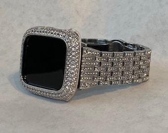 Crystal Apple Watch Band Women Silver Apple Watch Bezel Lab Diamond Cover Iwatch Bling Series 6 SE sb1