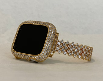 Gold Apple Watch Band 40mm Woman Silver and or Lab Diamond Bezel Cover 38mm 42mm 44mm Iwatch Bling Custom Handmade