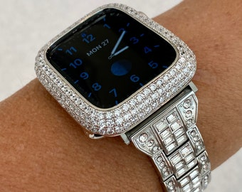 Silver Apple Watch Band 38mm 40mm 42mm 44mm & or White Gold Pave Lab Diamond Bezel Case Cover