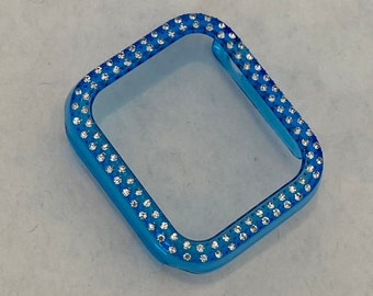 Blue Apple Watch Band Cover Bezel Iwatch Case Crystal Faceplate Series 6 SE pv bzl