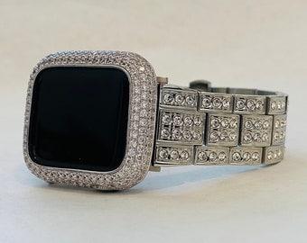 Custom Apple Watch Band Silver 38mm 40mm 42mm 44mm with Lab Diamonds & or Lab Diamond Bezel Case Cover Handmade
