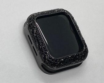 Apple Watch Bezel Cover Black on Black Metal Cover Floral Design Inset Rhinestones 38mm 40mm 42mm 44mm Series 6 Custom Handmade