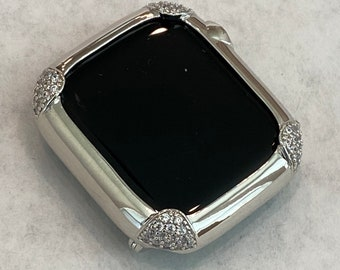 White Gold Apple Watch Bezel Cover 40mm Womens, Silver Lab Diamond Bumper Case, Gift for Her Custom Handmade