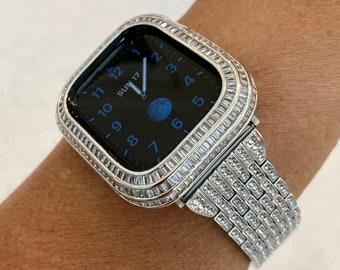 Custom Silver Apple Watch Band 40mm 44mm & or Lab Diamond Baguette Bezel Cover Handmade