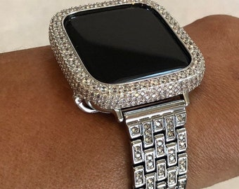 Silver Apple Watch Band 38mm-44mm Series 6 and or 2.5mm Lab Diamond Bezel Cover Iwatch Bling sb1