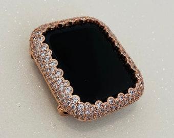Custom Bling Apple Watch Case Cover Woman Rose Gold Lab Diamond Bezel Bling Crystal Iwatch Band Series 6 SE Handmade