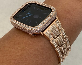 Custom 38 40 42 44mm Apple Watch Band Bling Women's & Rose Gold and or Iwatch Lab Diamond Pave Bezel Cover Series 6 rpb1 Hand Made