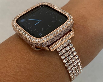 38mm 40mm 42mm 44mm Apple Watch Band Series 6 and or Lab Diamond Bezel Case Cover Rose Gold Handmade