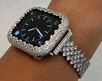 Custom White Gold Apple Watch Band Women's & or Lab Diamond Bezel Bumper for Iwatch Band Bling 38mm 40mm 42mm 44mm S6 sb1 Hand Made