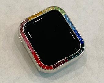 Silver Apple Watch Bezel Cover with Rainbow Crystals 38 40 42 44mm Series 2-6 Custom Handmade