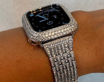 Series 7 Dressy Silver Apple Watch Band 41mm 45mm, Crystal Apple Watch Strap Bling 38 40 42 44mm BAND ONLY